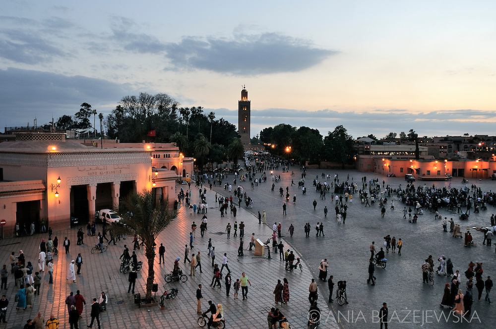 Morocco, Marrakesh. Koutoubia Mosque and Djemaa el-Fna Square in the evening.