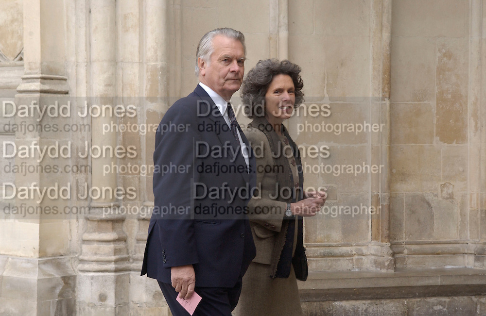 Sir David and Lady Owen, Service of thanksgiving for the Life and work of Lord Jenkisn of Hillhead. Westminster Abbey. 27 March 2003. © Copyright Photograph by Dafydd Jones 66 Stockwell Park Rd. London SW9 0DA Tel 020 7733 0108 www.dafjones.com