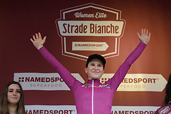 Elisa Longo Borghini takes the lead in the UCIWWT after Strade Bianche - Elite Women. A 127 km road race on March 4th 2017, starting and finishing in Siena, Italy. (Photo by Sean Robinson/Velofocus)