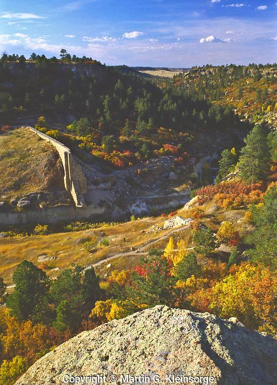 The ruins of Castlewood Dam are visible from Canyon Point along the east rim.  Castlewood Canyon State Park, Colorado.