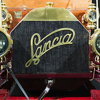 PADOVA, ITALY - OCTOBER 27:  An old traditional Lancia logo is  seen on a vintage car on display on October 27, 2011 in Padova, Italy. The Vintage and Classic Cars Exhibition of Padova, running from the October 28 - 30, is the most important European trade show for vintage cars and motorbikes, showcasing over 1600 vehicles.