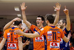 Players of ACH celebrate after the volleyball match between ACH Volley and OK Salonit Anhovo in finals of Slovenian Cup, on December 29, 2012 in Sports Arena OS Mozirje, Slovenia. ACH Volley defeated Salonit Anhovo 3-0 and became Slovenian Cup Champion 2012/2013. (Photo By Vid Ponikvar / Sportida.com)