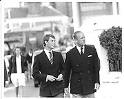 Prince Edward and Prince Philip walking down Cowes High St. 1986 approx. © Copyright Photograph by Dafydd Jones 66 Stockwell Park Rd. London SW9 0DA Tel 020 7733 0108 www.dafjones.com