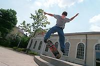 9 Globe photo Bethany Versoy  story/  R. Morell.  Brookline Ma.  Eli  Husock  jumps his skateboard at the Lincoln school on Brookline ma. Livingston and Husock   have lobbied and convinced town officials to build a skateboard park. RESTRICTED USE.NOT FOR REPBULICATION WITHOUT EXPLICIT APPROVAL FROM DIRECTOR OF PHOTOGRAPHY.