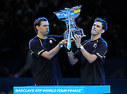 Doubles Winners Bob Bryan and Mike Bryan of the United States during the Mens Doubles Final of the Barclays ATP World Tour Finals, O2 Arena, London, United Kingdom on 16 November 2014 © Pro Sports Images