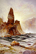 The Tower of Tower Falls, Yellowstone', 1875. ; chromolithograph after Thomas Moran (1837-1926) English-born American artist. United States Wyoming National Park Landscape River Water Rock Geology
