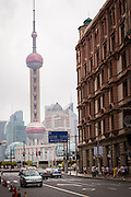 A view of the Bund and skyline of modern Shanghai, China from Nanjing East Road.