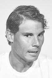 May 9, 2018 - Madrid, Madrid, Spain - (EDITORS NOTE: the image has been converted to black and white) Rafael Nadal of Spain attends a press conference during day five of the Mutua Madrid Open tennis tournament at the Caja Magica on May 9, 2018 in Madrid, Spain  (Credit Image: © David Aliaga/NurPhoto via ZUMA Press)