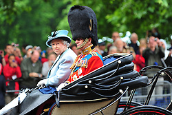 © licensed to London News Pictures. LONDON UK  11/06/11.Queen Elizabeth and Prince Phillip attend The Queens Birthday celebrations in London. Please see special instructions for usage rates. Photo credit should read ALAN ROXBOROUGH/LNP