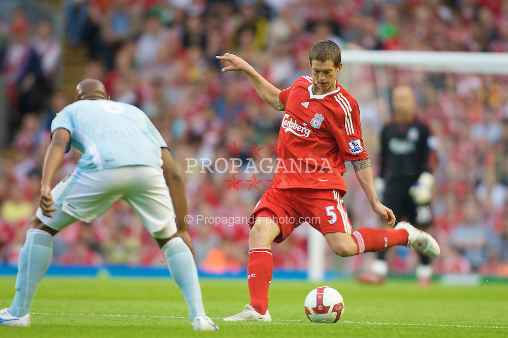 LIVERPOOL, ENGLAND - Friday, August 8, 2008: Liverpool's Daniel Agger in action during a pre-season friendly match against SS Lazio at Anfield. (Photo by David Rawcliffe/Propaganda)