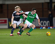 24th January 2018, Dens Park, Dundee, Scottish Premiership, Dundee versus Hibernian; Hibernian's John McGinn and Dundee's A-Jay Leitch-Smith