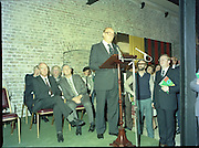 24/08/1984<br /> 08/24/1984<br /> 24 August 1984<br /> Opening of ROSC '84 at the Guinness Store House, Dublin. Lord Iveagh gives a speech at the opening of the exhibition, with President Patrick Hillery and Mr Pat Murphy, Chairman of ROSC seated behind.