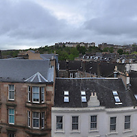 Glasgow skyline panorama with Sauchiehall St.. View from 5th floor of Lorne Hotel.