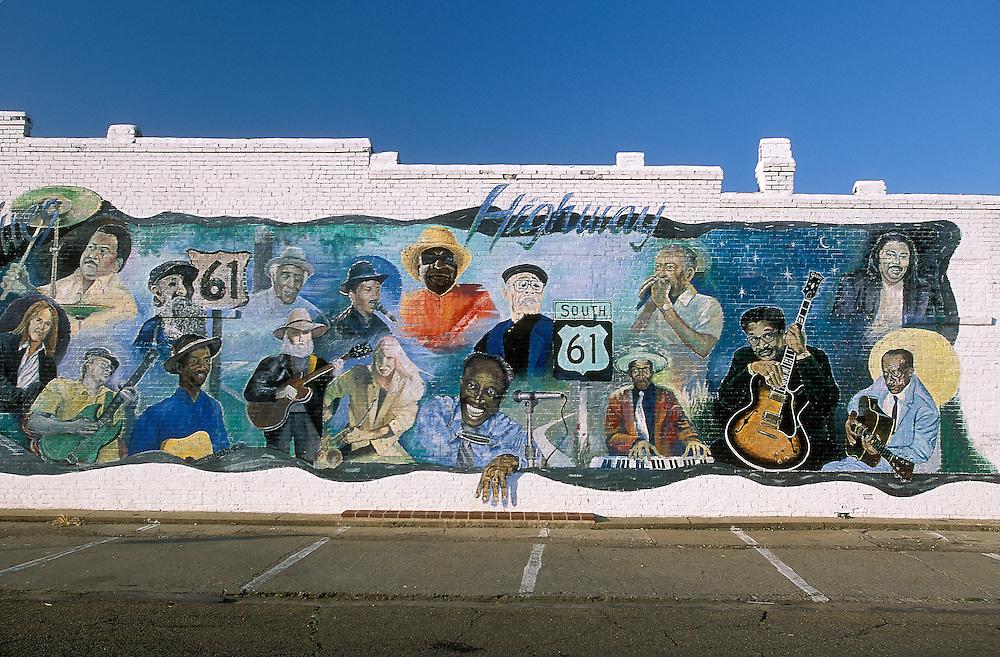 Mural of blues legends, Leland, MS