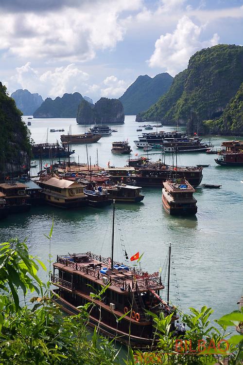View from Hang Sung Sot Cave. Ha Long Bay. <br /> Quang Ninh province, Vietnam.