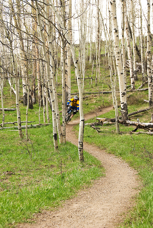 Dave Bunt rips through the aspens above Downtown Crested Butte.