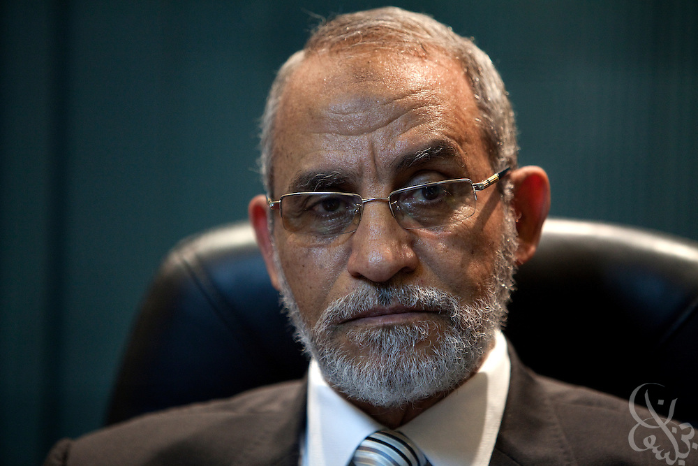 Dr. Mohammed Badie, leader of the Muslim Brotherhood, Egypt's largest political opposition group speaks with a Newsweek correspondent November 23, 2010 at his office in Cairo, Egypt. (Photo by Scott Nelson for Newsweek)