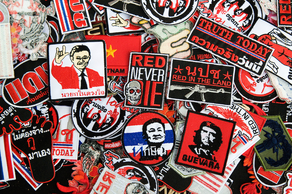 Patches being sold at a booth inside the United Front for Democracy against Dictatorship (UDD also known as Red Shirt) protestors strategic strong hold of Ratchaprasong, Bangkok, Thailand, on April 15, 2010.  The protestors have forced the closure of some of Thailand's most prestigious upscale malls and hotels in a battle that has been depicted by the Red Shirts as peasants vs. the elite.