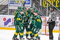 2019-10-15   Umeå, Sweden: Björklöven (91) Justin Crandall scores 1-1 in HockeyAllsvenskan during the game  between Björklöven and Västervik at A3 Arena ( Photo by: Michael Lundström   Swe Press Photo )<br /> <br /> Keywords: Umeå, Hockey, HockeyAllsvenskan, A3 Arena, Björklöven, Västervik, happy happiness celebration celebrates,  mlbv191015
