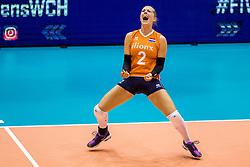 23-08-2017 NED: World Qualifications Belgium - Netherlands, Rotterdam<br /> De Nederlandse volleybalsters hebben op het WK-kwalificatietoernooi ook hun tweede duel in winst omgezet. Oranje overklaste Belgi&euml; en won met 3-0 (25-18, 25-18, 25-22). Eerder werd Griekenland ook al met 3-0 verslagen / Femke Stoltenborg #2 of Netherlands