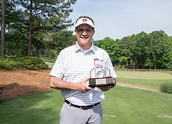 Auburn head football coach Gus Malzahn poses for a photo after winning the Chick-fil-A Peach Bowl Challenge Closest to the Pin Skills Competition at the Ritz Carlton Reynolds, Lake Oconee, on Monday, April 29, 2019, in Greensboro, GA. (Paul Abell via Abell Images for Chick-fil-A Peach Bowl Challenge)