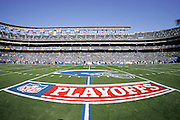 SAN DIEGO - JANUARY 14:  General view of the stadium, an NFL Playoffs logo, and a San Diego Chargers helmet painted on the field for the game against the New England Patriots at the AFC Divisional Playoff Game held on January 14, 2007 at Qualcomm Stadium in San Diego, California. The Patriots defeated the Chargers 24-21. ©Paul Anthony Spinelli