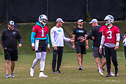 Carolina Panthers quarterbacks Cam Newton(1) and Will Grier(3) with quarterback coach Scott Turner,  wide receivers coach Jim Hostler, and running backs coach Jake Peetz during minicamp at Bank of America Stadium, Thursday, June 13, 2019, in Charlotte, NC. (Brian Villanueva/Image of Sport)