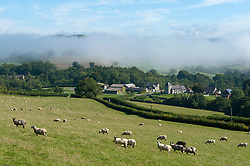 © Licensed to London News Pictures. 01/09/2017. Llanddewi'r Cwm,, Powys, Wales, UK. On the first day of Autumn temperatures dropped to around 6-8 deg Celsius last night and there was heavy fog in the valleys in Powys, Wales, UK. Photo credit: Graham M. Lawrence/LNP
