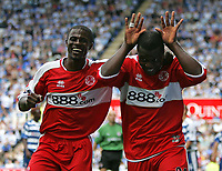 Photo: Lee Earle.<br /> Reading v Middlesbrough. The Barclays Premiership. 19/08/2006. Middlesbrough captain George Boateng (L)congratulates Yakubu after he scored their second.