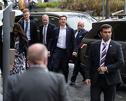 © Licensed to London News Pictures. 09/07/2019. Salford, UK. JEREMY HUNT arrives . Boris Johnson and Jeremy Hunt attend a televised hustings at Media City. One of the two will be the next Conservative Party Leader and British Prime Minister. Photo credit: Joel Goodman/LNP