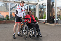 A Charity Bike Ride is linking the two Portobellos in Edinburgh and London this weekend. A former Edinburgh Portobello resident Gordon Barclay will set off tomorrow (Sunday 24th) to cycle to London. The ride will raise funds for Clarrie Mendy, who tragically lost 2 relatives in the Grenfell Tower Disaster and has now been diagnosed with Motor Neurone Disease, and for Doddie Weir's MY NAME5 DODDIE foundation. Pictured: Gordon Barclay, Clarrie Mendy<br /> <br /> <br /> &copy; Jon Davey/ EEm