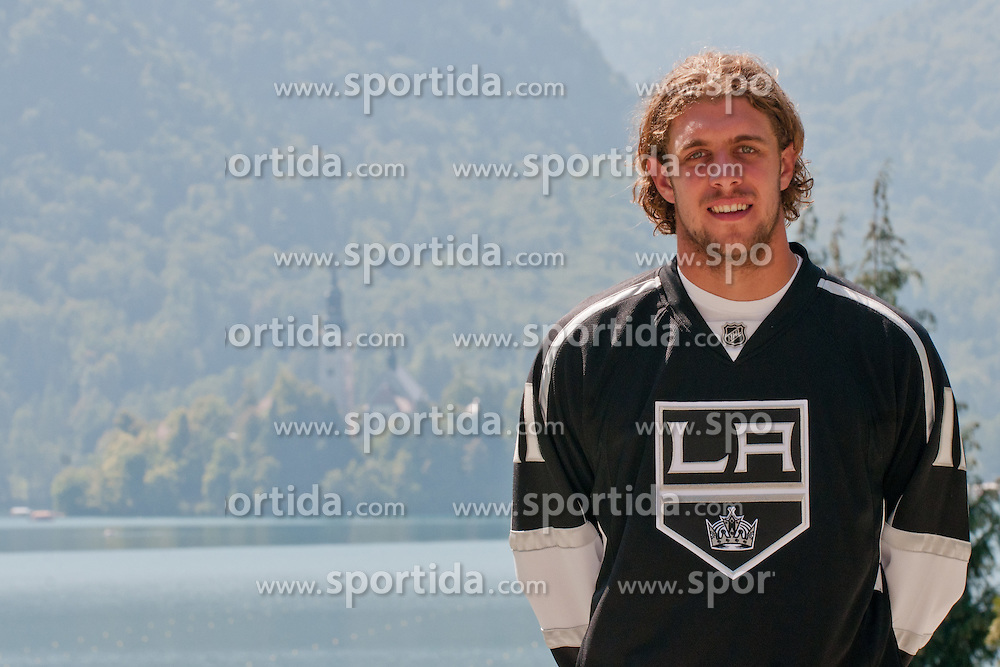 Anze Kopitar, LA Kings #11, and n background lake Bled and island with church at practice of LA Kings superstar Anze Kopitar before NHL League, on August 22, 2011, in Ledena Dvorana, Bled, Slovenia. (Photo by Matic Klansek Velej / Sportida)