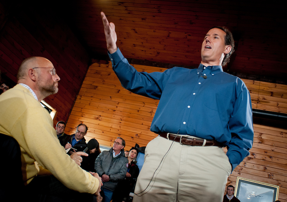 Presidential hopeful, Former Pennsylvania Senator Rick Santorum speaks at a town hall meeting in Northfield, New Hampshire, fresh off his very strong showing in the Iowa Caucus.