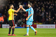 Watford (30) Orestis Karnezis, Watford (6) Adrian Mariappa celebrate win the Premier League match between Watford and Everton at Vicarage Road, Watford, England on 24 February 2018. Picture by Sebastian Frej.
