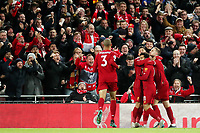 Football - 2019 / 2020 Premier League - Liverpool vs. Manchester City<br /> <br /> Liverpool players celebrate the second goal scored by Mohamed Salah, at Anfield.<br /> <br /> COLORSPORT/PAUL GREENWOOD