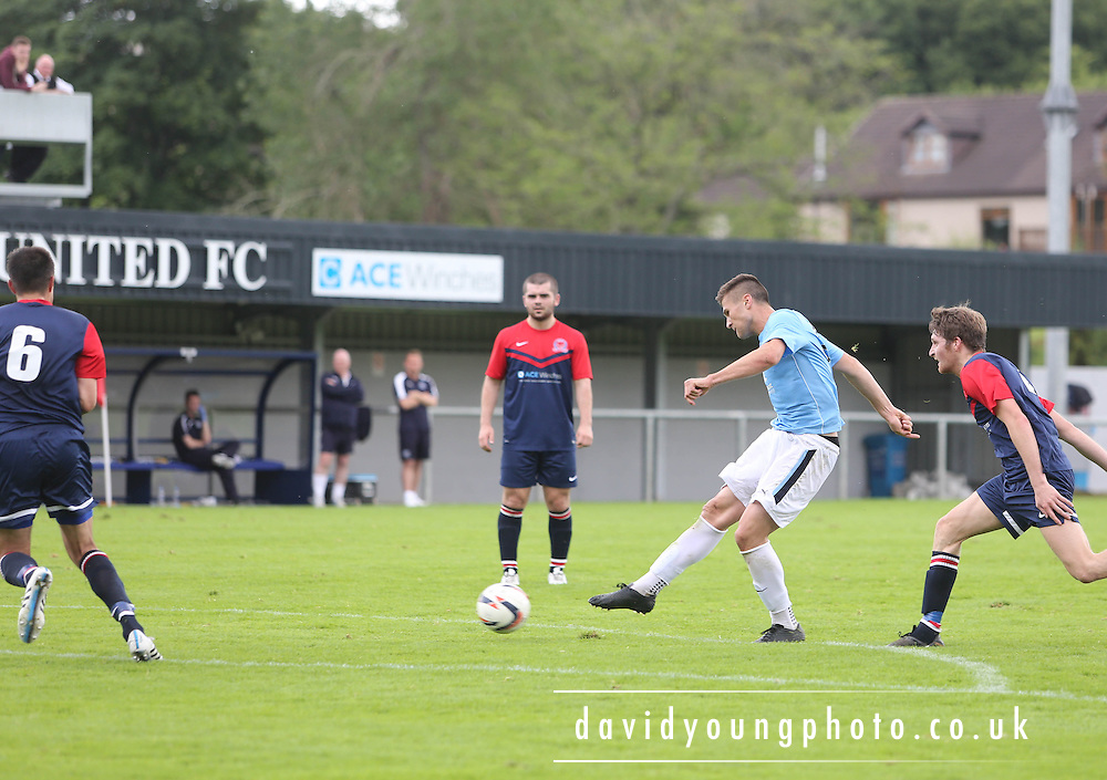 Dundee's trialist striker fires home to make the score 1-1 - Highland League Turriff United v Dundee under 20s - pre-season friendly at The Haughs, Turriff<br /> <br />  - &copy; David Young - www.davidyoungphoto.co.uk - email: davidyoungphoto@gmail.com