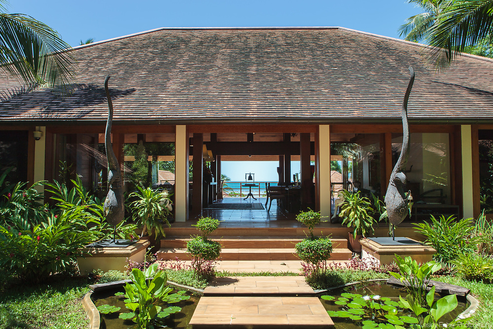 Entrance of Baan Wanora, a luxury, private, beach front villa located in Laem Sor, Koh Samui, Thailand