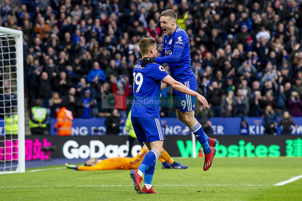 March 9, 2019 - Leicester, Leicestershire, United Kingdom - Jamie Vardy of Leicester City celebrates his second goal with Harvey Barnes of Leicester City during the Premier League match between Leicester City and Fulham at the King Power Stadium, Leicester on Saturday 9th March 2019. (Credit Image: © Mi News/NurPhoto via ZUMA Press)