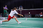 SO Poland athlete Kamila Kubala plays badminton during third day of the Special Olympics World Games Los Angeles 2015 on July 27, 2015 at South Hall on Los Angeles Convention Centre in  Los Angeles, USA.<br /> USA, Los Angeles, July 27, 2015<br /> <br /> Picture also available in RAW (NEF) or TIFF format on special request.<br /> <br /> For editorial use only. Any commercial or promotional use requires permission.<br /> <br /> Adam Nurkiewicz declares that he has no rights to the image of people at the photographs of his authorship.<br /> <br /> Mandatory credit:<br /> Photo by &copy; Adam Nurkiewicz / Mediasport