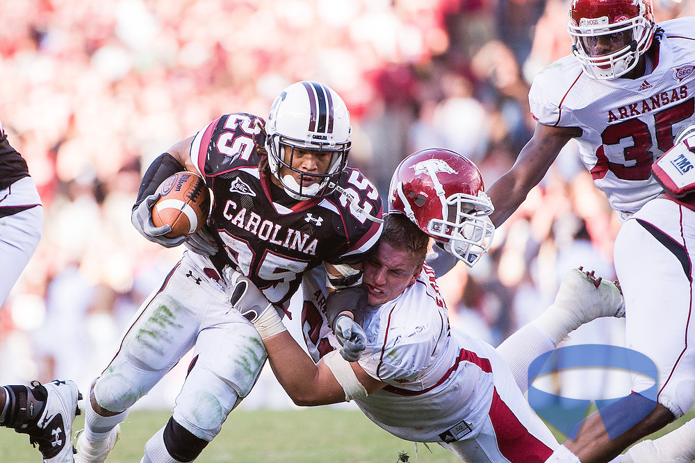 South Carolina Gamecocks defeat the Arkansas Razorbacks in Columbia.