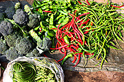 Chilis and broccoli at the morning market in Dali, Yunnan, China; September, 2013.