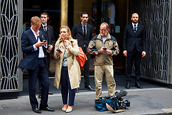 © Licensed to London News Pictures. 11/09/2019. London, UK.  Members of the media and security guards pictured outside the Sports Direct International plc held in Academy House in Poland Street. Unlike previous years journalists have been barred from attending.  Photo credit: Cliff Hide/LNP
