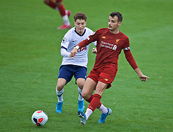 KIRKBY, ENGLAND - Saturday, August 10, 2019: Liverpool's captain Pedro Chirivella (R) and Tottenham Hotspur's Armando Shashoua (L) during the Under-23 FA Premier League 2 Division 1 match between Liverpool FC and Tottenham Hotspur FC at the Academy. (Pic by David Rawcliffe/Propaganda)