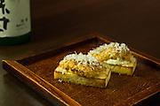 Uni crostini (torched uni with Parmesan Reggiano flakes) at SakaMai.