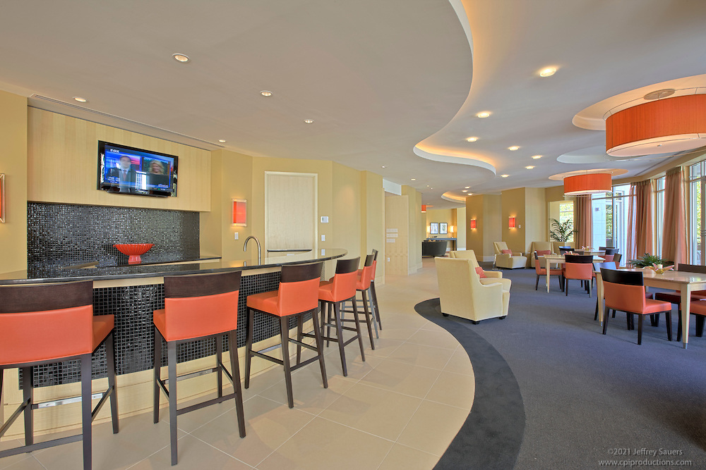 Interior photography of the fitness center at the Promenade at National Harbor