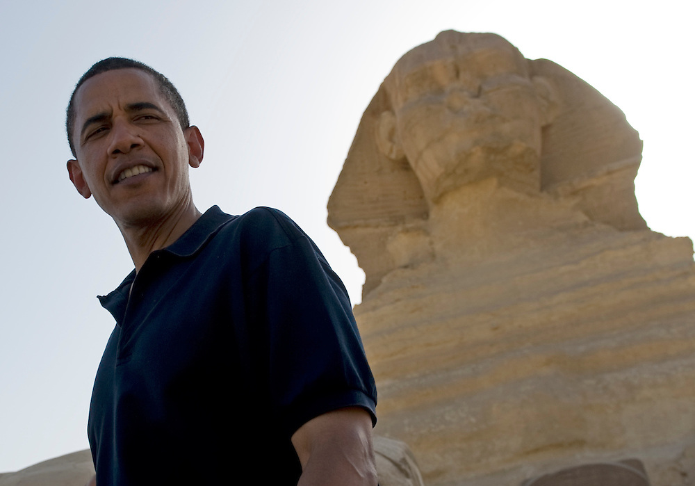 US President Barack Obama walks past the Sphinx in Giza Egypt during a tour on 04 June 2009. Earlier today Obama delivered a much anticipated address on American Foreign Policy at Cairo University in Cairo.