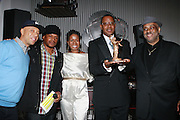 l to r: Russell Simmons, Sway, Tange Murray, Jamel Shabazz and Danny Simmons at The Rush Philanthropic 2nd Annual Gold Rush Awards Presented by Danny Simmons and Russell Simmons which was held at The Red Bull Space on March 18, 2010 in New York City. Terrence Jennings/Retna..The Gold Rush Awards celebrates and recognizes trailblazers in the Arts Industry who shape contemporary arts and culture across creative disciplines.