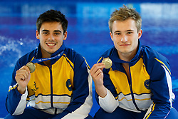 Mens 3m Synchro Springboard winners Chris Mears and Jack Laugher of City of Leeds Diving Club pose with their Gold Medals - Photo mandatory by-line: Rogan Thomson/JMP - 07966 386802 - 20/02/2015 - SPORT - DIVING - Plymouth Life Centre, England - Day 1 - British Gas Diving Championships 2015.