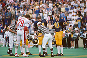 COLLEGE FOOTBALL:  Stanford vs Cal in the annual Big Game on November 17, 1984 at Memorial Stadium in Berkeley, California.  Mike Wyman #79.  Photography by David Madison (www.davidmadison.com).