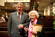 MARTIN CLUNES; HONOR BLACKMAN, Reception after Christmas Carol Service in aid of the Haven, Breast Cancer Support Centres. St. Paul's, Knightsbridge. London. 9 December 2010.  -DO NOT ARCHIVE-© Copyright Photograph by Dafydd Jones. 248 Clapham Rd. London SW9 0PZ. Tel 0207 820 0771. www.dafjones.com.